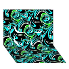 Bright Aqua, Black, And Green Design Clover 3d Greeting Card (7x5)  by digitaldivadesigns