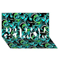 Bright Aqua, Black, And Green Design #1 Mom 3d Greeting Cards (8x4)  by theunrulyartist