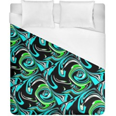 Bright Aqua, Black, And Green Design Duvet Cover Single Side (double Size) by digitaldivadesigns