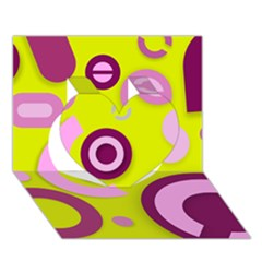 Florescent Yellow Pink Abstract  Heart 3d Greeting Card (7x5)  by OCDesignss