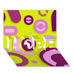 Florescent Yellow Pink Abstract  Hope 3d Greeting Card (7x5)  by OCDesignss