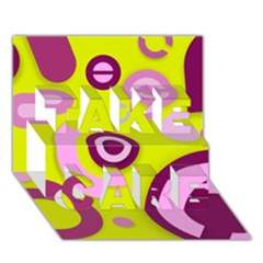 Florescent Yellow Pink Abstract  Take Care 3d Greeting Card (7x5)