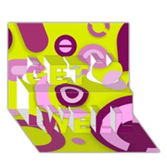 Florescent Yellow Pink Abstract  Get Well 3d Greeting Card (7x5)  by OCDesignss