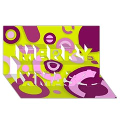 Florescent Yellow Pink Abstract  Merry Xmas 3d Greeting Card (8x4)