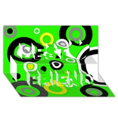 Florescent Green Yellow Abstract  Best Friends 3d Greeting Card (8x4)  by OCDesignss