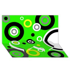Florescent Green Yellow Abstract  Twin Heart Bottom 3d Greeting Card (8x4)  by OCDesignss
