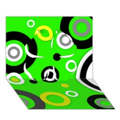 Florescent Green Yellow Abstract  Clover 3d Greeting Card (7x5)  by OCDesignss