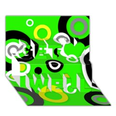 Florescent Green Yellow Abstract  Get Well 3d Greeting Card (7x5)