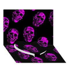 Purple Skulls  Heart Bottom 3d Greeting Card (7x5)