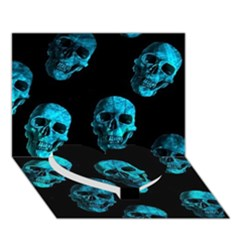 Skulls Blue Heart Bottom 3d Greeting Card (7x5)