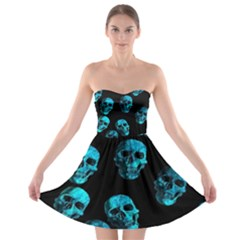 Skulls Blue Strapless Bra Top Dress by ImpressiveMoments