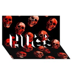 Skulls Red Hugs 3d Greeting Card (8x4)