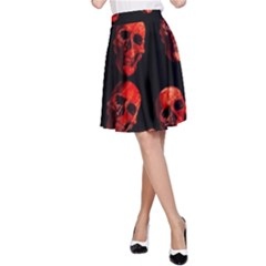 Skulls Red A Line Skirts by ImpressiveMoments