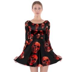 Skulls Red Long Sleeve Skater Dress