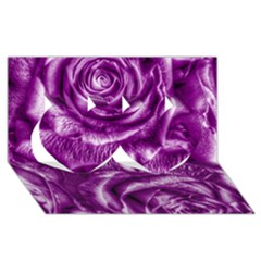 Gorgeous Roses,purple  Twin Hearts 3d Greeting Card (8x4)  by MoreColorsinLife