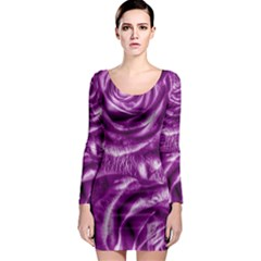 Gorgeous Roses,purple  Long Sleeve Bodycon Dresses