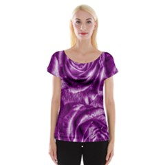 Gorgeous Roses,purple  Women s Cap Sleeve Top
