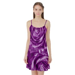 Gorgeous Roses,purple  Satin Night Slip