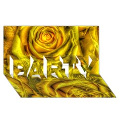 Gorgeous Roses, Yellow  Party 3d Greeting Card (8x4)