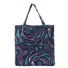 Gorgeous Roses, Aqua Grocery Tote Bags