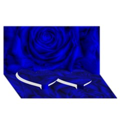 Gorgeous Roses,deep Blue Twin Heart Bottom 3d Greeting Card (8x4)  by MoreColorsinLife