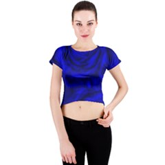 Gorgeous Roses,deep Blue Crew Neck Crop Top