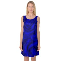 Gorgeous Roses,deep Blue Sleeveless Satin Nightdresses