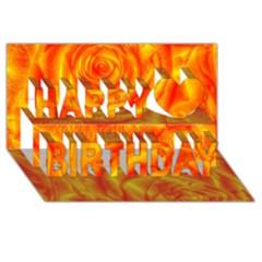 Gorgeous Roses, Orange Happy Birthday 3d Greeting Card (8x4)