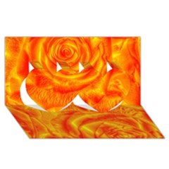 Gorgeous Roses, Orange Twin Hearts 3d Greeting Card (8x4)