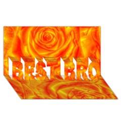 Gorgeous Roses, Orange Best Bro 3d Greeting Card (8x4)