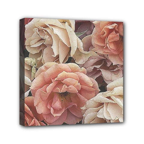 Great Garden Roses, Vintage Look  Mini Canvas 6  X 6