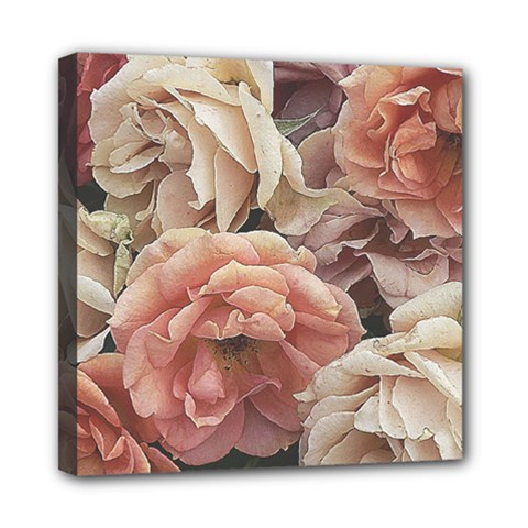 Great Garden Roses, Vintage Look  Mini Canvas 8  X 8