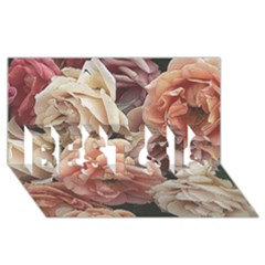Great Garden Roses, Vintage Look  Best Sis 3d Greeting Card (8x4)