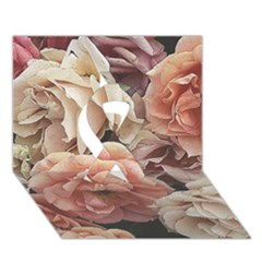 Great Garden Roses, Vintage Look  Ribbon 3d Greeting Card (7x5)