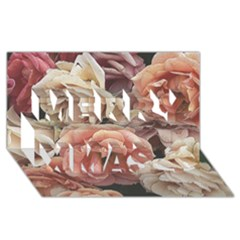 Great Garden Roses, Vintage Look  Merry Xmas 3d Greeting Card (8x4)