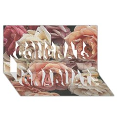 Great Garden Roses, Vintage Look  Congrats Graduate 3d Greeting Card (8x4)