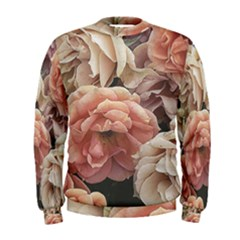 Great Garden Roses, Vintage Look  Men s Sweatshirts
