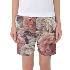 Great Garden Roses, Vintage Look  Women s Basketball Shorts