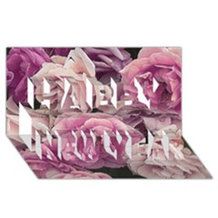 Great Garden Roses Pink Happy New Year 3d Greeting Card (8x4)
