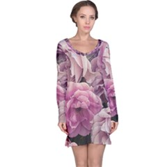 Great Garden Roses Pink Long Sleeve Nightdresses by MoreColorsinLife