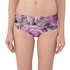 Great Garden Roses Pink Mid Waist Bikini Bottoms by MoreColorsinLife