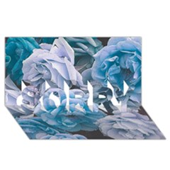 Great Garden Roses Blue Sorry 3d Greeting Card (8x4)