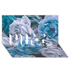 Great Garden Roses Blue Hugs 3d Greeting Card (8x4)