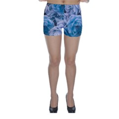Great Garden Roses Blue Skinny Shorts by MoreColorsinLife