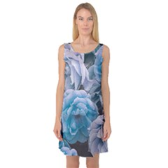 Great Garden Roses Blue Sleeveless Satin Nightdresses by MoreColorsinLife