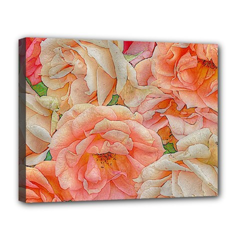 Great Garden Roses, Orange Canvas 14  X 11
