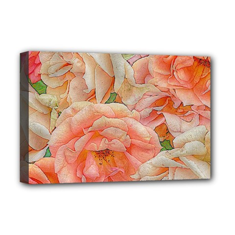 Great Garden Roses, Orange Deluxe Canvas 18  X 12