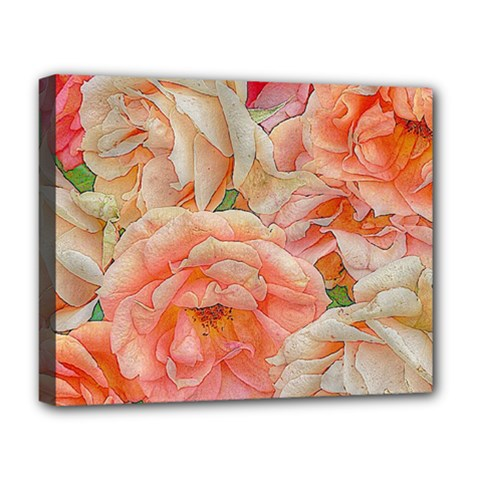 Great Garden Roses, Orange Deluxe Canvas 20  X 16