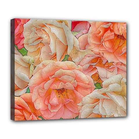 Great Garden Roses, Orange Deluxe Canvas 24  X 20