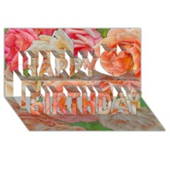 Great Garden Roses, Orange Happy Birthday 3d Greeting Card (8x4)